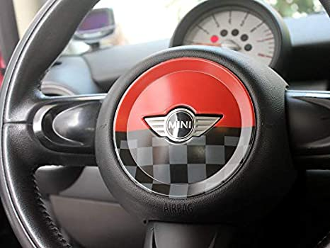 Chequer LVBAO Steering Wheel Cover Trim Cap ABS Mini Cooper ONE S JCW R Series R55 Clubman R56 Hatchback R57 Covertible R58 Coupe R59 Roadster R60 Countryman R61 Paceman