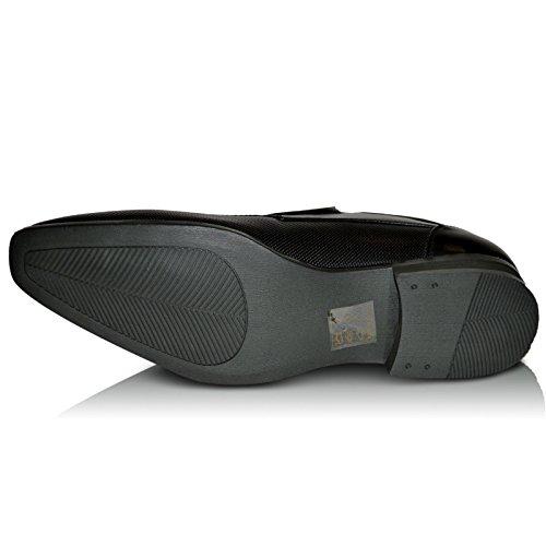 Xelay Hombre Nuevo/Negro Hombre Tostado Zapatos De Vestir Sin Cordones Normal Ajuste Con Forro De Cuero - TALLAS GB 6-12 - Negro, 43 EU
