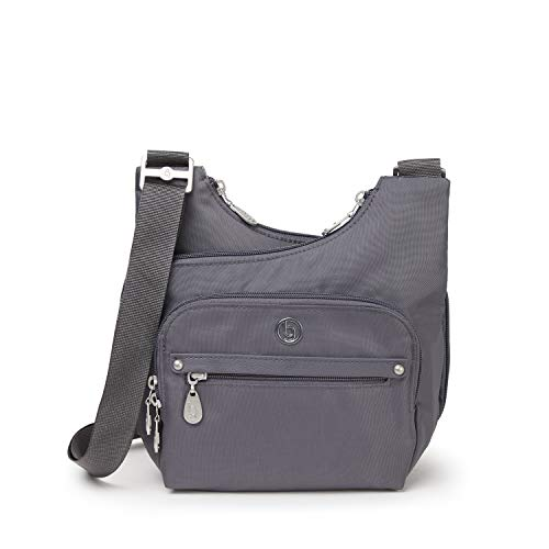 BG by Baggallini Charlotte Crossbody Bag - Stylish, Lightweight, Adjustable-Strap Purse With Multiple Pockets and RFID Protection, Shadow Gray
