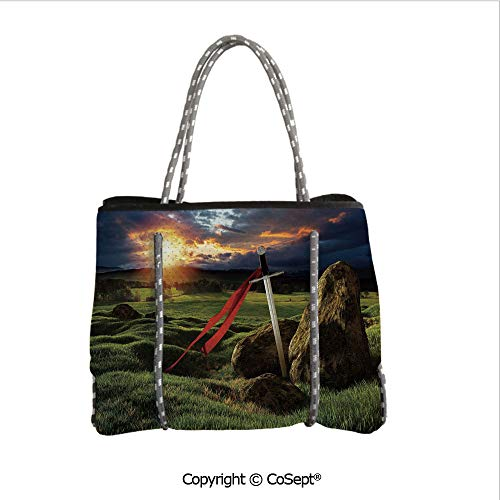 Durable Tote Bag,Arthur Camelot Legend Myth in England Ireland Fields Invincible Sword Image,For The Boat,Beach or Pool (14.9