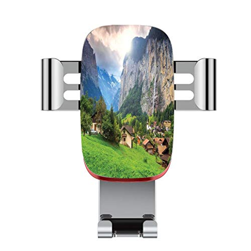 (Metal automatic car phone holder,Farm House Decor,Town by the Rocks on Waterfall Background European Peaks Sunlig,adjustable 360 degree rotation, car phone holder compatible with 4-6.2 inch smartphone)