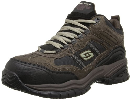 Skechers Men's Work Relaxed Fit Soft Stride Canopy Comp Toe Shoe, Brown/Black - 10 D(M) US (Best Skechers For Walking On Concrete)