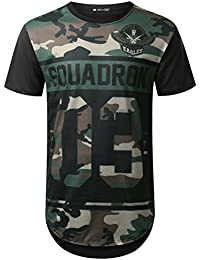 Mens Hipster Hip Hop Camouflage Graphic Print Longline T-Shirt