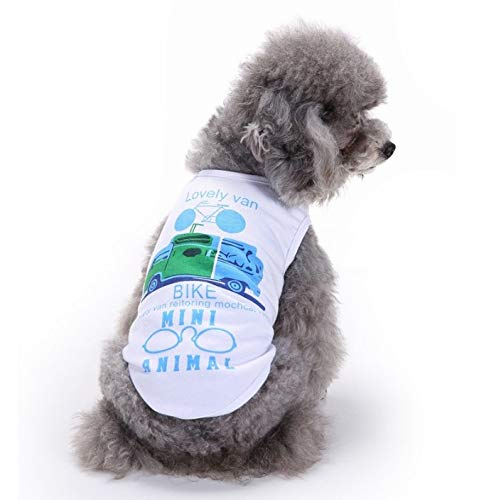 JWl Pet Cat and Dog Clothes, White Car Sleeveless Pet Vest, Comfortable Breathable Clothes in Spring and Summer (Size : XS)