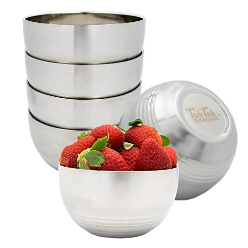 - TukTek Kitchen Premium Set of 6 Stainless Steel Snack Bowls 16oz Double Layer Thermal Insulated 304 SS Bowls for Rice Snacks Soups Salad Cereal (6)