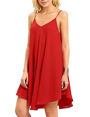 CasualD Womens Sleeveless Loose Mini Dresses Summer Beach Dress Oversized (Large, Red)