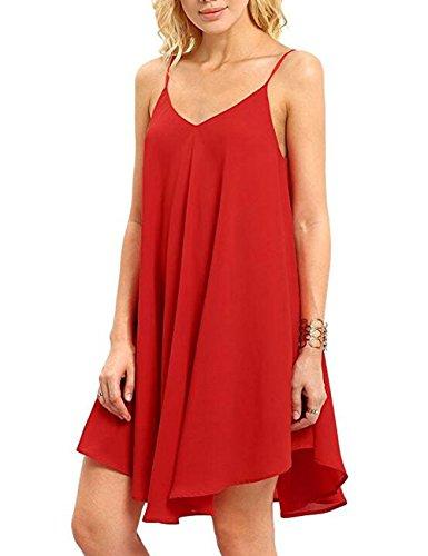 CasualD Womens Sleeveless Loose Mini Dresses Summer Beach Dress Oversized (Large, Red)