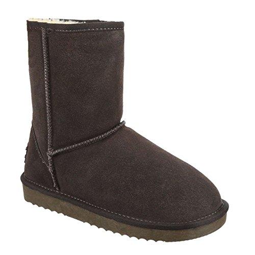 Damen Stiefeletten Schnee Stiefel Boots Flache Schlupfstiefel Warm Gefüttert Winter Schuhe 58 Grau