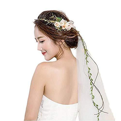 - EraloveBride Flower Wreath Headband Girls Flower Crown Veil Women Floral Garland Boho for Festival Wedding with Veil, Light Pink, free