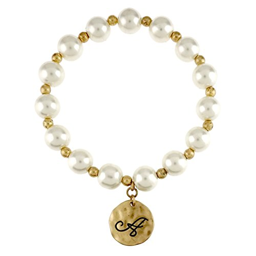 Pearl Initial Bracelet (Initial Antique Gold Silver Charm Pearl Body Stretch Bracelet (Antique Gold / A))