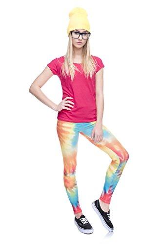 Fringoo - Leggings para mujer, niñas, diseño emoticonos, cintura alta, talla 36 / 38 / 40 / 42 Tie Dye