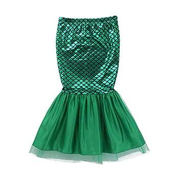 inhzoy - Vestido de Sirena Brillante para niña, Falda metálica con ...