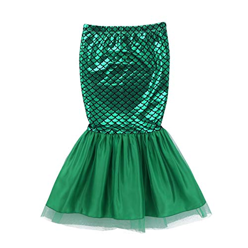 FEESHOW Toddler Girls Sequins Little Mermaid Tail Halloween Costumes Party Outfits Top with Skirt