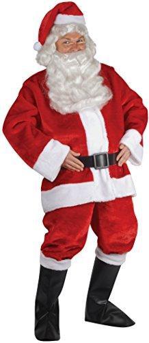 Santa Suit Complete Velour Costumes (Star Power Santa Claus Plush Suit 6pc Costume, Red White Black, Adult Size)