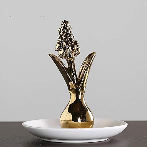 - ZAMTAC 1 PCS Creative Nordic Plated Gold Hyacinth Ceramic Jewelry Plate Jewelry Earrings Storage Plate Window Home Decoration LU711939