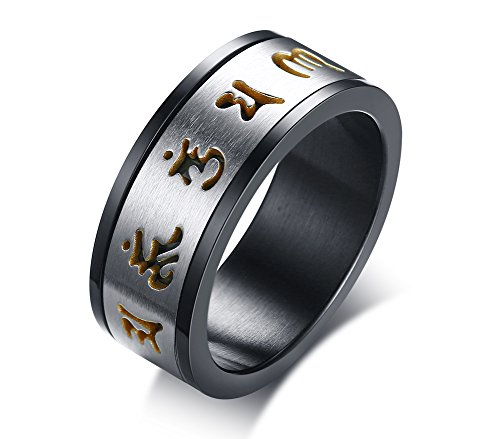 Mealguet Jewelry Stainless Steel Two-tone Black Brushed Hollow Om mani padme hum Spinner Ring Band for Men,8mm width,size 9