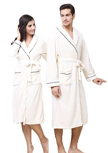 AGOWOO Flannel Mens Couples Matching Long Bath Robe Nightgown Beige XXL by AGOWOO