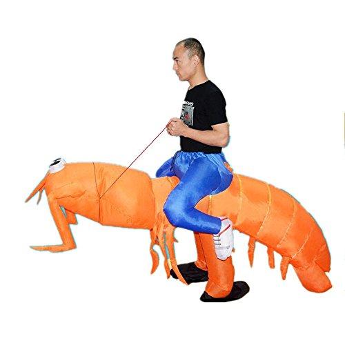 Inflatable Man Piggyback Big Mantis Shrimp Animal Adult for Halloween Party Orange -