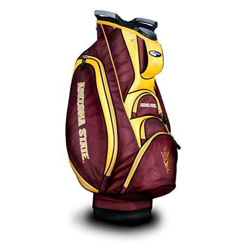 Team Golf NCAA Arizona State Sun Devils Victory Golf Cart Bag, 10-way Top with Integrated Dual Handle & External Putter Well, Cooler Pocket, Padded Strap, Umbrella Holder & Removable Rain Hood