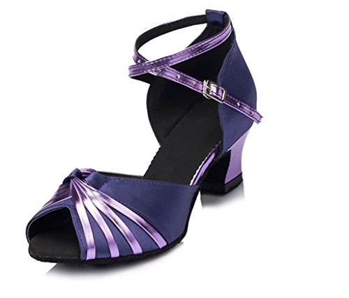 Crc Femmes Élégant Peep Toe Pu Noeud Satin Salle De Bal Morden Salsa Latin Fête Mariage Professionnel Danse Sandales Violet