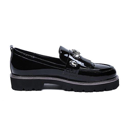 Minivog Dames Lage Platte Loafer Schoenen Zwart