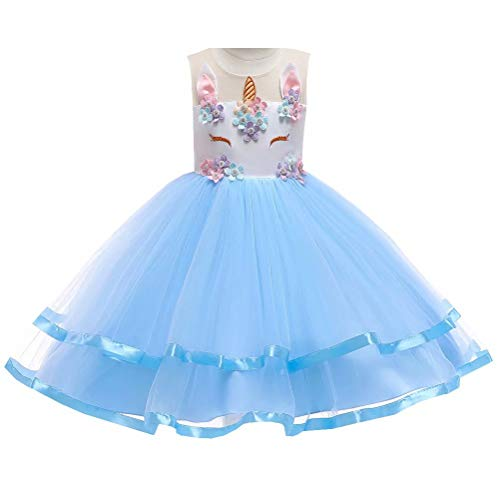 Fancy Flower Girl Dress Pageant Birthday Party Costume Unicorn Tulle Tutu Skirt Blue -