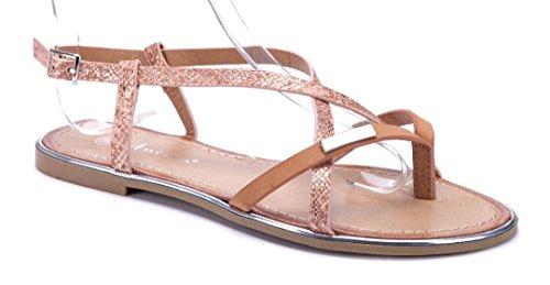 Schuhtempel24 Damen Schuhe Zehentrenner Sandalen Sandaletten Camel Flach Zia862wu5d