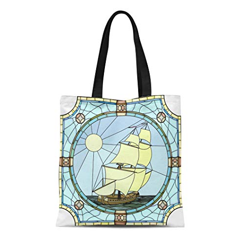 Semtomn Canvas Bag Resuable Tote Grocery Adorable Shopping Portablebags Mosaic with Large Cells of Sailing Ships the 17Th Century in Round Stained Natural 14 x 16 Inches Canvas Cloth Tote Bag -