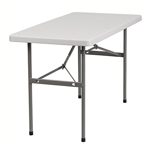 Flash Furniture RB-2448-GG 24-Inch Width by 48-Inch Length Granite Plastic Folding Table, Gray/White (Plastic Rectangular Folding Table)