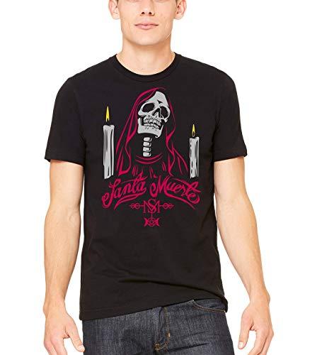 Santa Muerte, la santa muerte mexican grim shirt, unisex black shirts, -