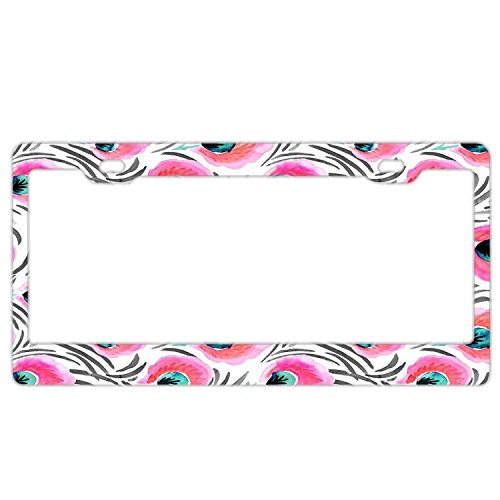 (Feathered Pink Flowers License Plate Frame for Women,Aluminum Metal Car Licenses Plate Covers for Tag 2 Holes)