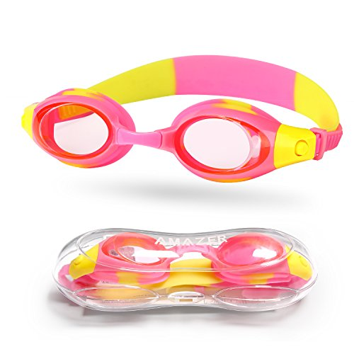 Kids Child Swim Goggles, Amazer Kid Child Swimming Goggles with Clear Vision Anti Fog UV Protection No Leak Come Easy to Adjust with Free Protection Case for Kids Child Early Teens (Pink and Yellow) (Water Googles For Kids)
