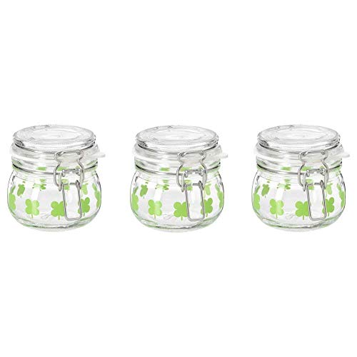 3 Pack of IKEA Sommar Glass Mason Jar with Hinged Airtight Lids Green Four Leaf Pattern, 4OZ, Storage Containers For Kitchen Spices Nuts Sauce And Other