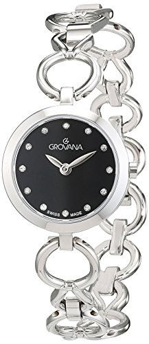 Grovana Women's 'Ladies Dressline' Swiss Quartz Stainless Steel Casual Watch, Color:Silver-Toned (Model: 4569-1137)