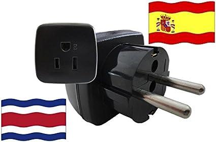 Adaptador de Viaje para España y Costa Rica ES/CR Enchufe de Viaje (Contacto de Protección, 2200 Vatios): Amazon.es: Bricolaje y herramientas