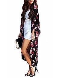 Yonala Womens Printed Chiffon Beachwear Crop Top Kimono Cover Up Cardigan