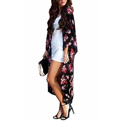 best Yonala Women s Floral Sheer Chiffon Beachwear Top Cover-ups Kimono  Cardigan 54559377d