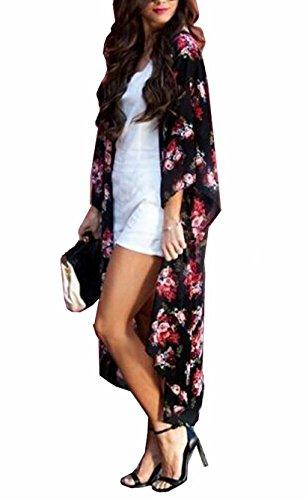 - Yonala Women's Flower Pattern Sheer Chiffon Beachwear Bimini Cover Ups Kimono (One Size, A Floral),A floral,One Size