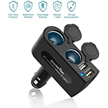 Rocketek 2-socket Car Splitter Cigarette Lighter Adapter 12/24V 120W with 3.1A 2 USB Car Charger Adapter for iphone / ipad / android cell phone / tablet, gps - Build in Replaceable 10A Fuse