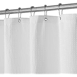 "Waffle Weave Fabric Shower Curtain – Spa, Hotel Luxury, Heavy Duty, Water Repellent, White – Pique Pattern, 70"" x 72"" for Decorative Bathroom Curtains (230 GSM)"