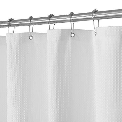 Waffle Weave Fabric Shower Curtain – Spa, Hotel Luxury, Heavy Duty, Water Repellent, White – Pique Pattern, 71 x 72 for Decorative Bathroom Curtains (230 GSM)
