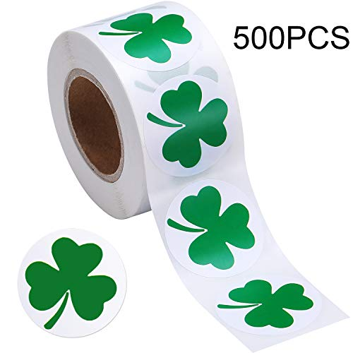 Boao St. Patricks Day Stickers Shamrock Roll Stickers 1-1/2 Inch Adhesive Label for Irish Decoration and Craft (Style A, 500 Pieces)