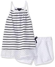 Nautica Big Girls\' Racerback Knit Top with Fashion Athletic Short Set, Sail White, 10