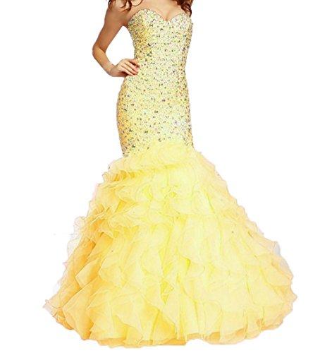 Dresses Formal Mermaid Gowns Ruffles Evening Fanciest Yellow Women's Prom Organza 1Yq6wTXx