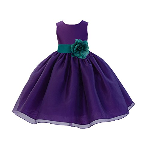 ekidsbridal Purple Satin Bodice Organza Skirt Flower Girl Dress Christening Dress 841S M