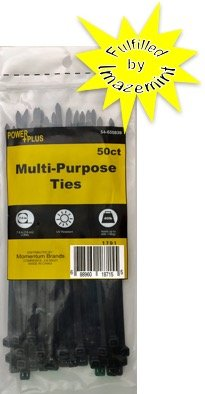 Price comparison product image Power Plus Multi-Purpose Ties 7.5 Inch. Holds up to 40lbs. (2 pks @ $3.50) (50ct per pk = 100 ct) (Black)
