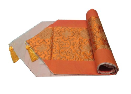 BEAUTIFUL FLOWER THAI SILK TABLE/BED RUNNER WITH (Thai Gold Plate)