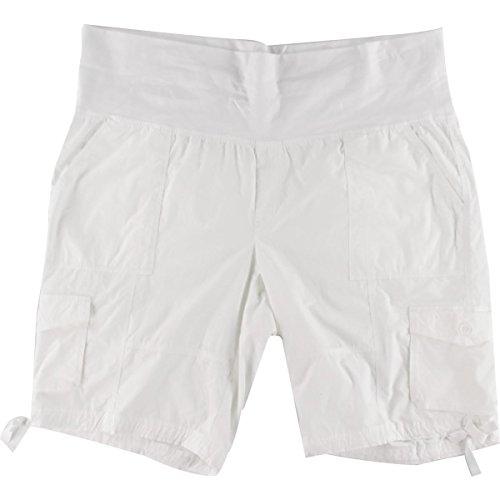 Calvin Klein Womens Plus Pleated Comfort Waist Cargo Shorts White 2X (Pleated Cargo)