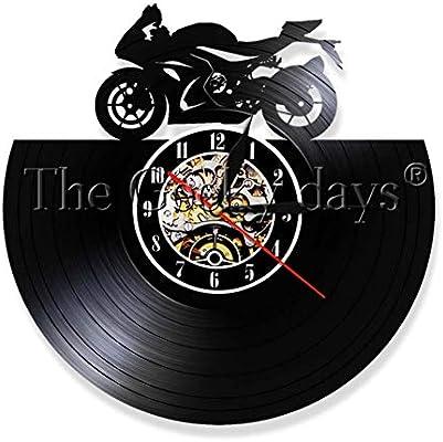 LQGZ Reloj De Pared 1 Pieza Retro Bicicleta Reloj De Pared Autobiciclo Decoración del Hogar Reloj De Pared Regalo Hecho A Mano para Amante De La Moto: Amazon.es: Hogar