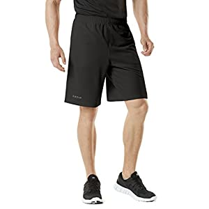 TM-MBS01-BLK_Large Tesla Men's Active Shorts Sports Performance HyperDri II With Pockets MBS01
